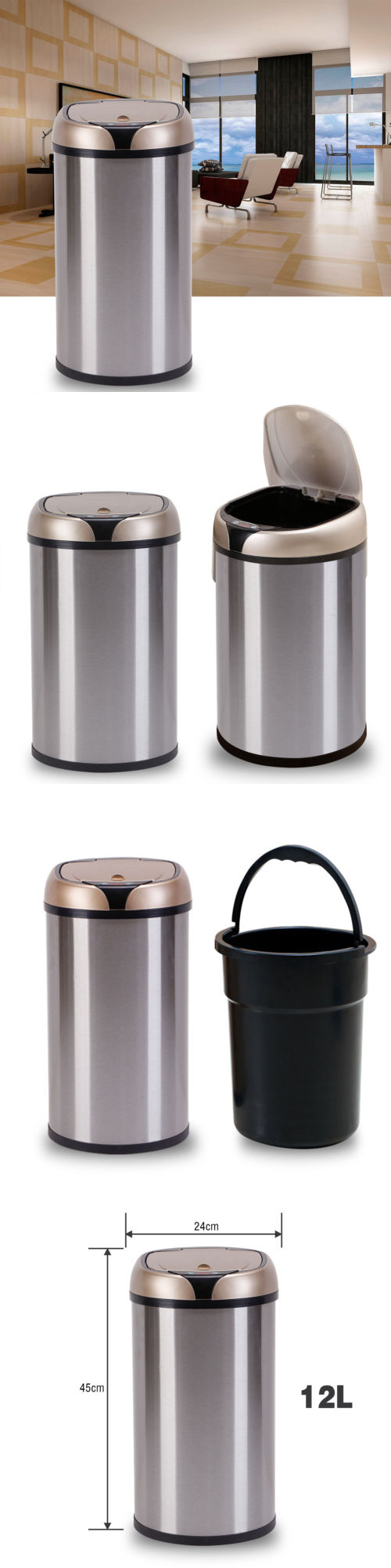 Trash Cans And Wastebaskets Inspiration Trash Cans And Wastebaskets 20608 12L Automatic Sensor Trash Can Decorating Inspiration
