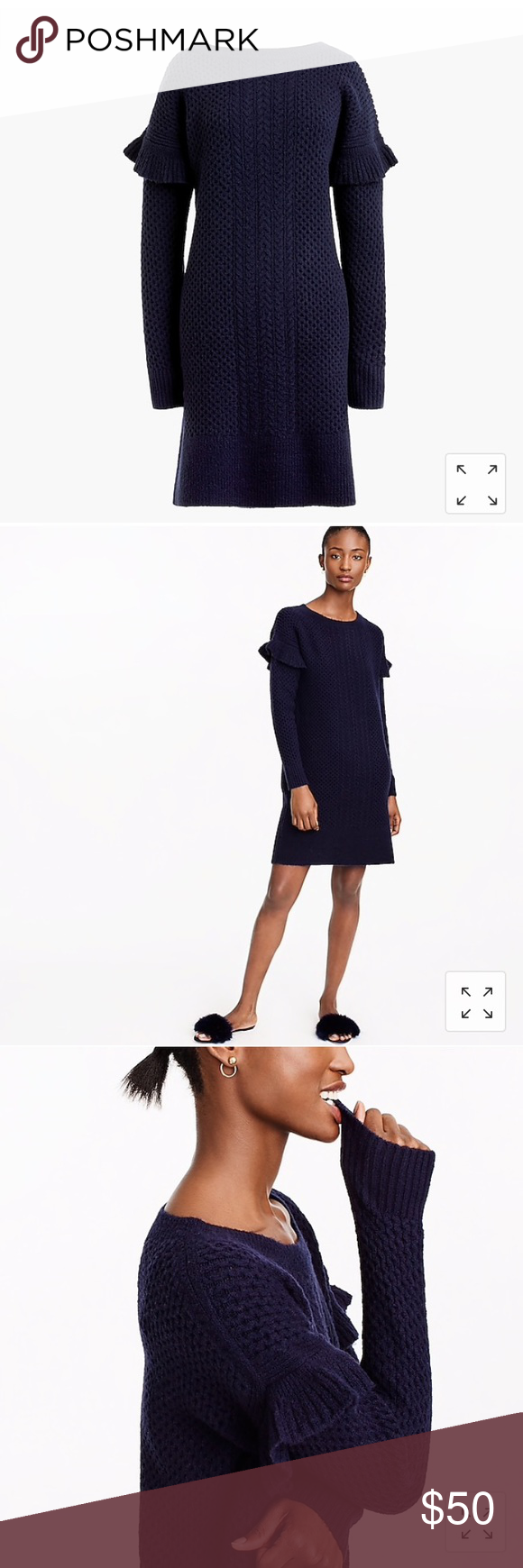 5a74150eacc NWT J. Crew cable knit ruffle sleeve sweater dress NWT J. Crew cable knit  ruffle long sleeve sweater dress! Beautiful navy color. Soft and warm!
