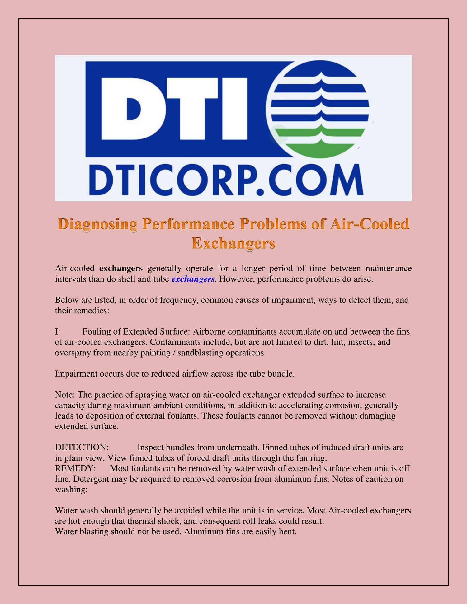 Diagnosing Performance Problems of AirCooled Exchangers