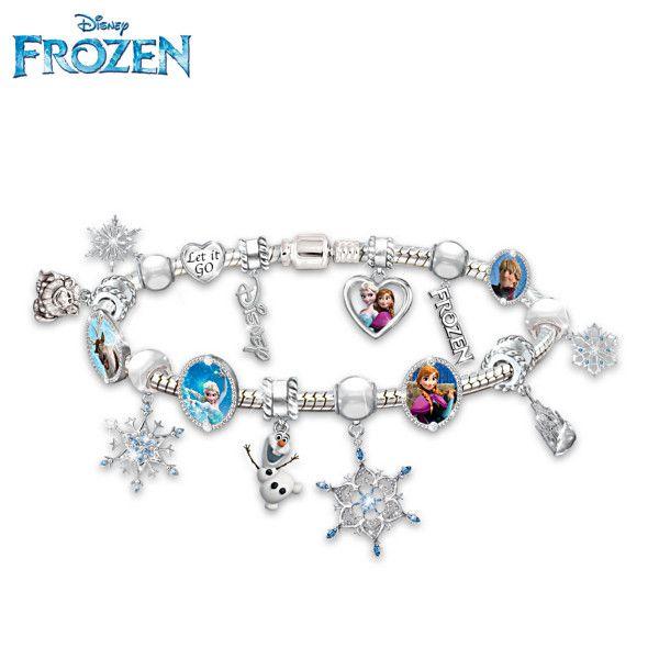 "Disney Store 7/""  FROZEN Charm Bracelet  W// Enameled /& Metal Charms   New"