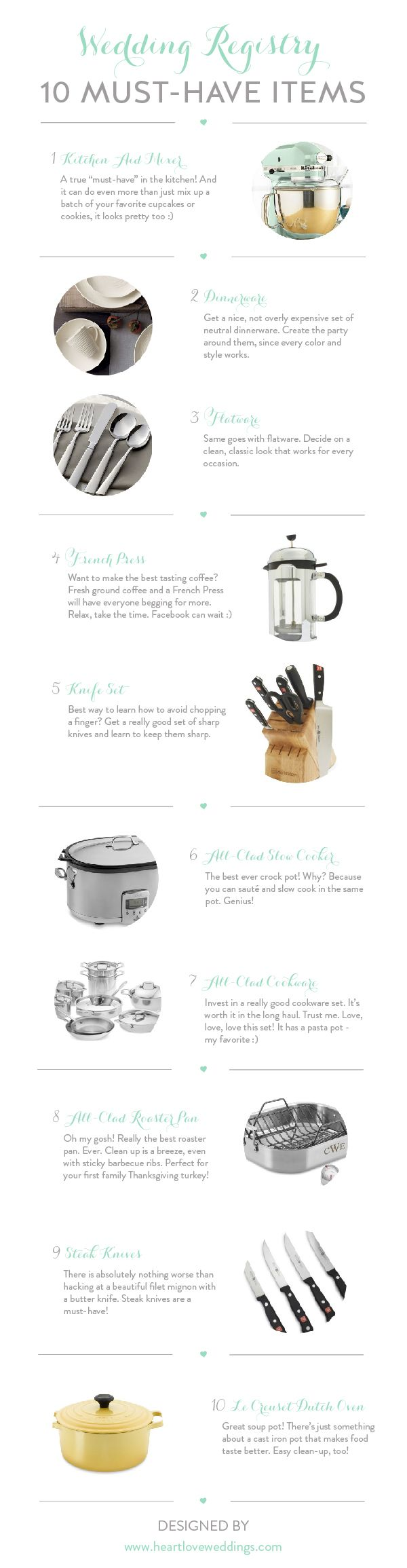 Top 10 Must Have Items For The Kitchen And Or Entertaining That Should Be Included When Registering Your Wedding Gifts