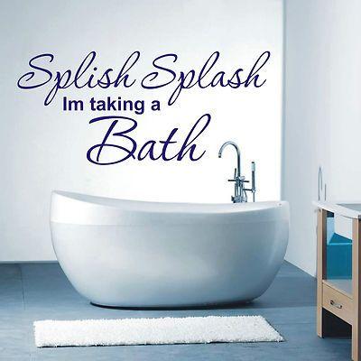 Splish Splash Bathroom Wall Art Sticker Quote   4 Sizes   Loads Of Colours