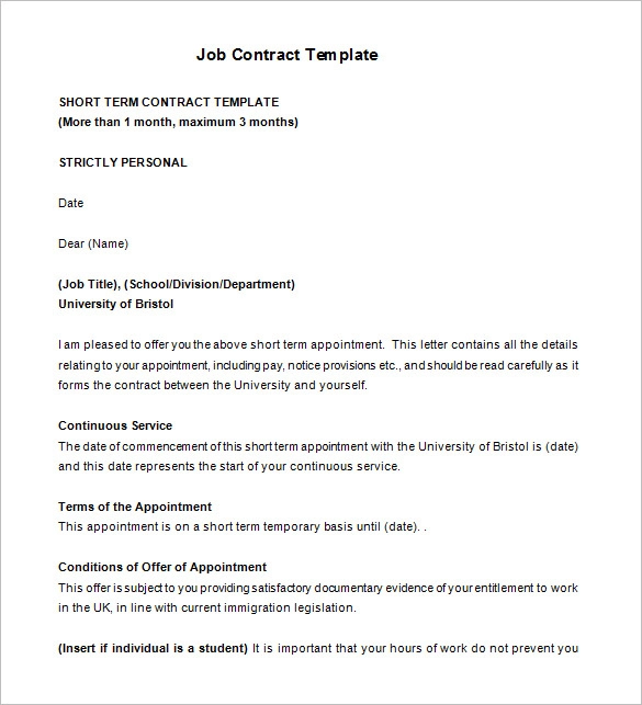 Job Agreement Templates 13 Free Word Pdf Legal Formats Contract Template Career Portfolio Template Words