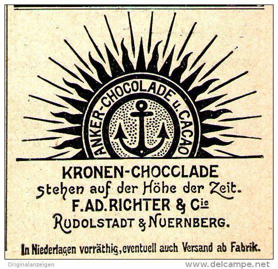 Original-Werbung/Anzeige 1899 - KRONEN CHOCOLADE / RICHTER - RUDOLSTADT / NÜRNBERG - ca. 45 x 40 mm