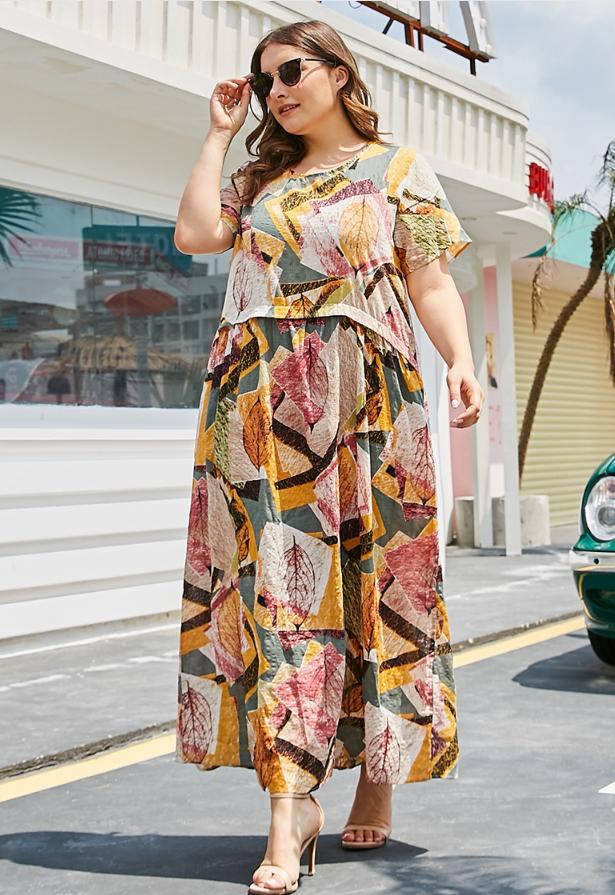 Mid-Calf Tassel Three-Quarter Sleeve Floral Travel Look Dress $30.99
