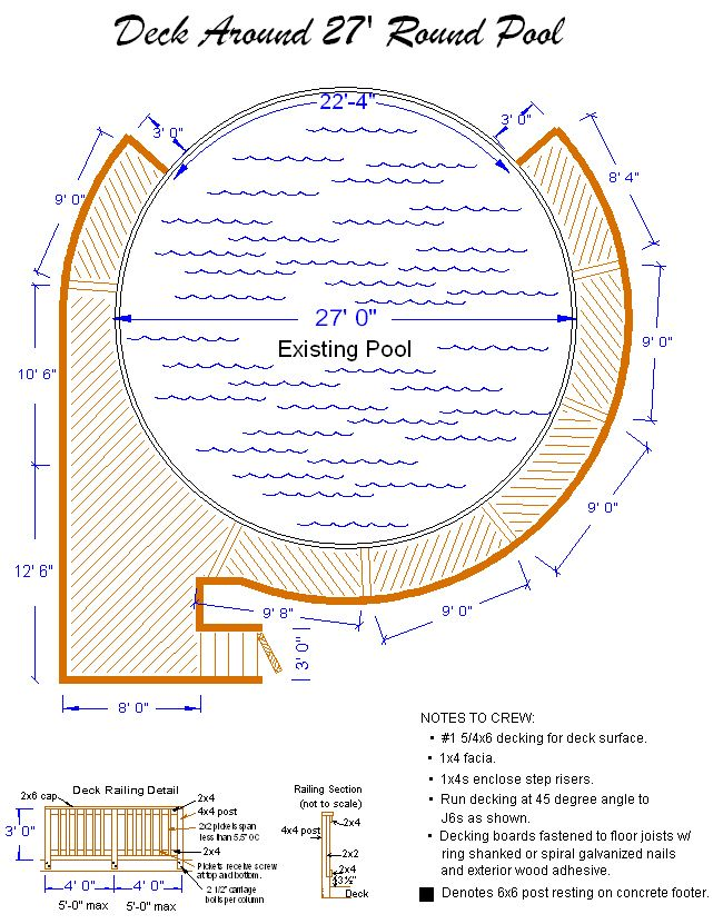 Pool deck ideas ft round pool deck plan deck plans for Pool design program