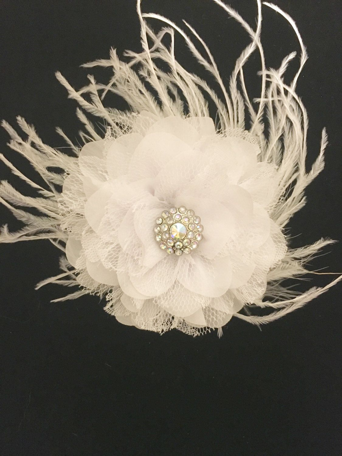 White Chiffon Lace Flower Feather Fascinator Hair Clip Flower Girl