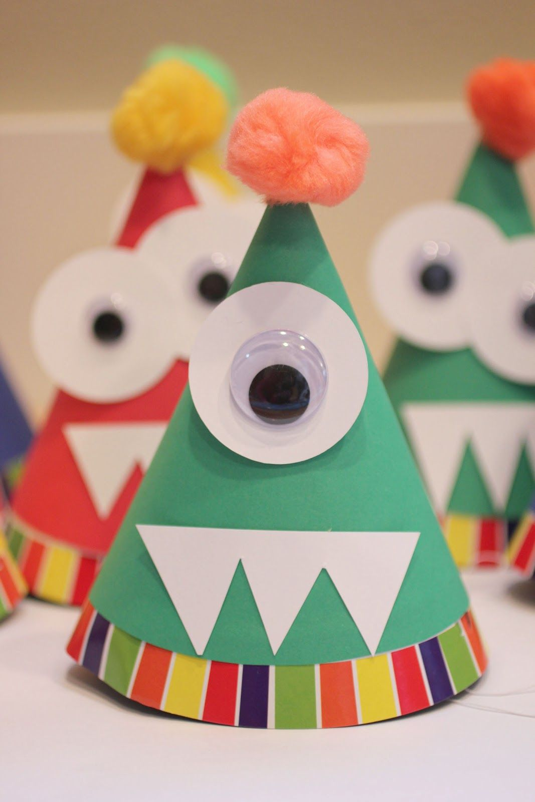 Repeat crafter me monster party hats fun ideas with the for Crafts to do at a birthday party