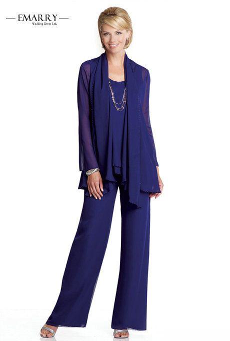 RY07 Elegant Purple Mother of the Bride Pant Suits Chiffon Pants ...