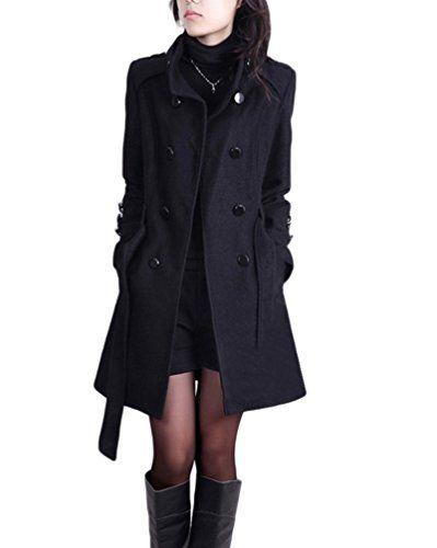 1d0fe08a21437 YOUJIA Femme Col Montant Trench-coat Longue Double Boutonnage Manteaux en  Laine Mélangée Parkas d Hiver (Noir CN M)