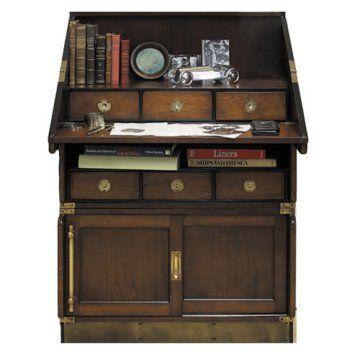 Authentic Models Campaign Wood Drop Down Desk Bookcase