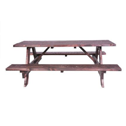 Classic Party Rentals Table 6 X 30 Picnic Wood Fruitwood W Benches Picnic Table Table Event Table