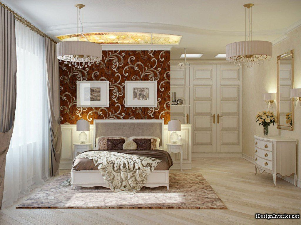 Spacious Glamorous Romantic Couple Bedroom Design With Minimalist White Bed  Frame And Vintage Dressing Table Also