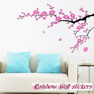 Amazon Com Modern House Wall Decor Removable Decal Sticker Cherry Blossom Tree In Wind Baby