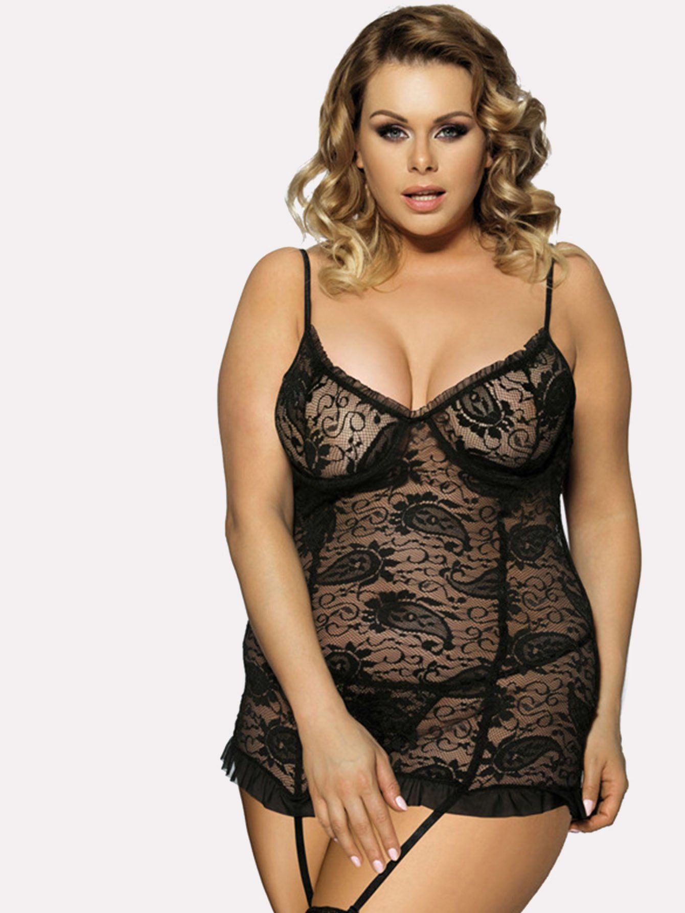 4a0fbff5f3d Cut-Out Lace Garter Dress With Thong Babydoll Nightwear