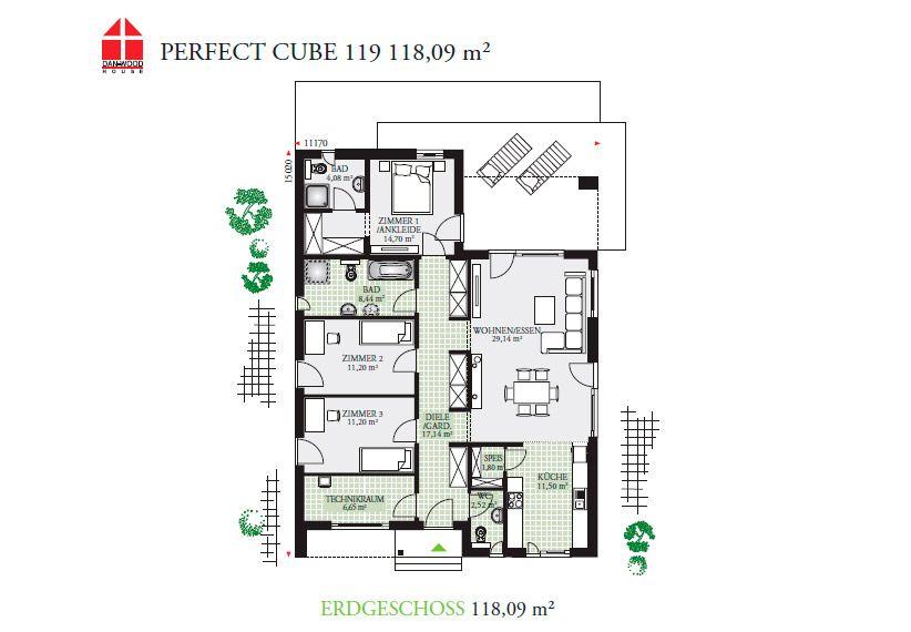 Bungalow mit vier Zimmern, Ankleide, offener Küche, zwei Bädern ...