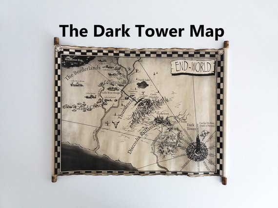 The Dark Tower Map Scroll End World Map Mid World Map Etsy In 2020 The Dark Tower Map World Map