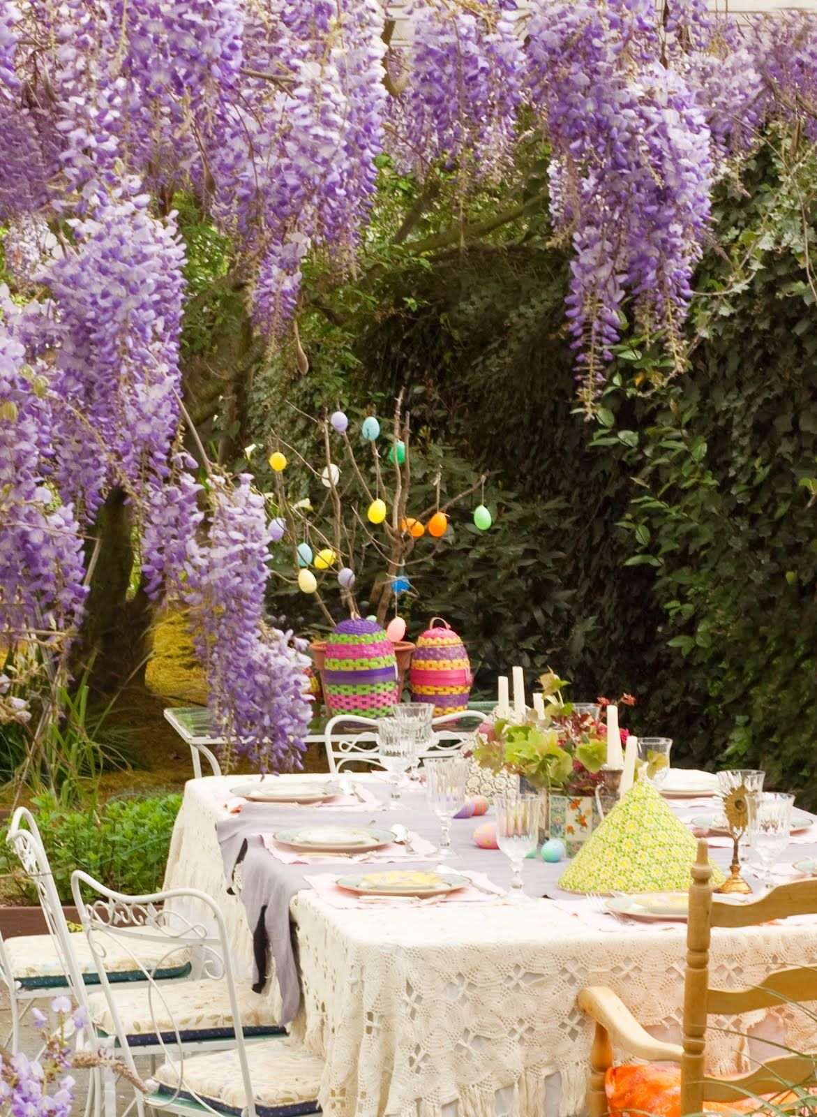 Easter decoration outdoor - Easter Decorations For The Garden Purple Wisteria Flowers