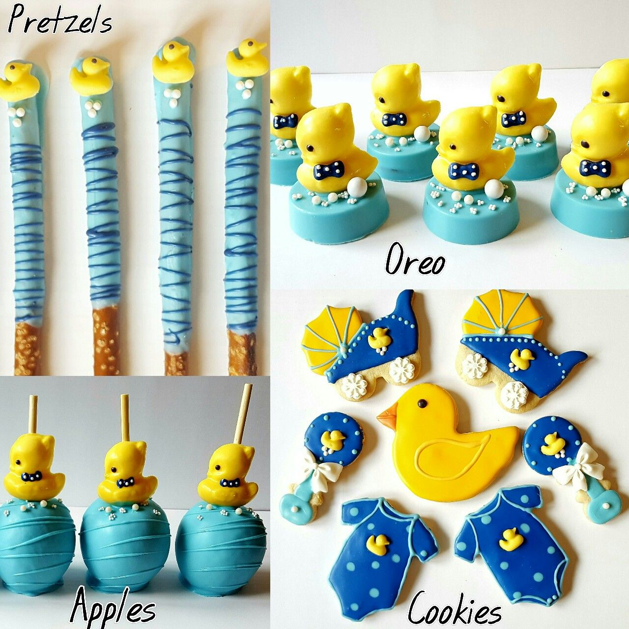 rubber ducky theme baby shower treats cookies candy apples