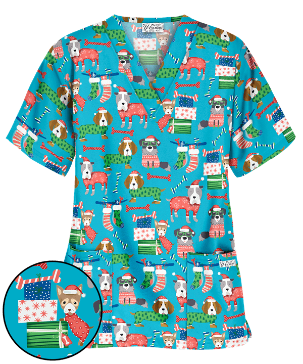 UA Cozy Christmas Pups Turquoise Print Scrub Top (With ...