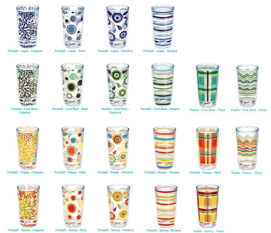 fiestaware tervis tumblers 16 or 24 oz insulated plastic glasses norsby - Tervis Tumblers