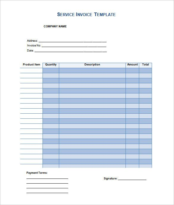 Service Invoice Template Example in Word Doc , Invoice Template - invoice template word doc