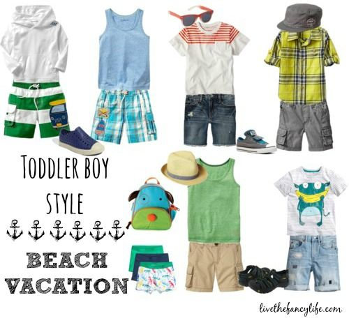 Children Fashion Girl In Tropical Turquoise Beach: Toddler Boy Tropical Vacation Fashion.