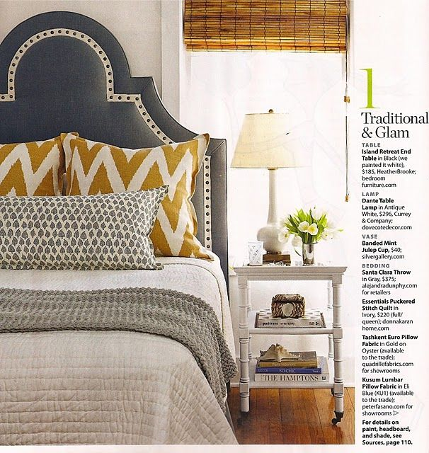 bedroom inspiration dark gray upholstered headboard white bedding camel chevron pattern our colors