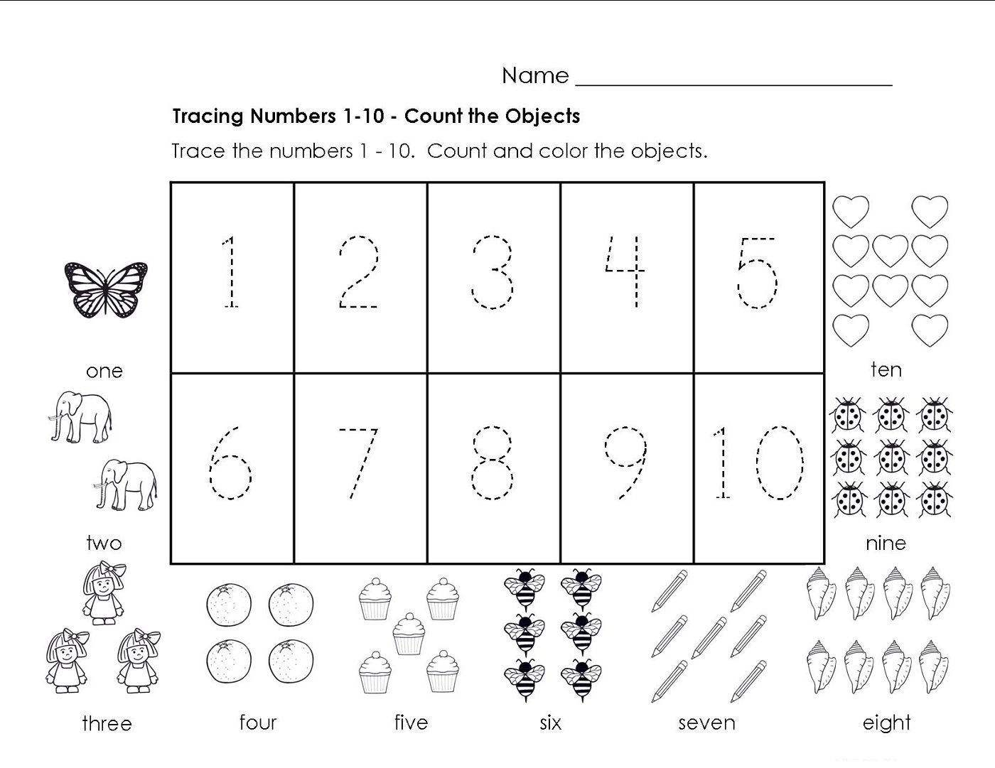 Traceable Numbers 1-10 Worksheets To Print