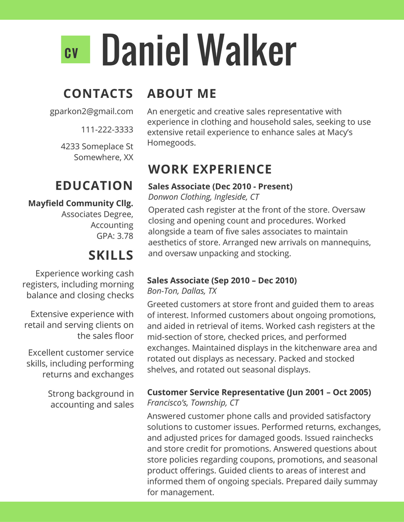 correct format for a resume