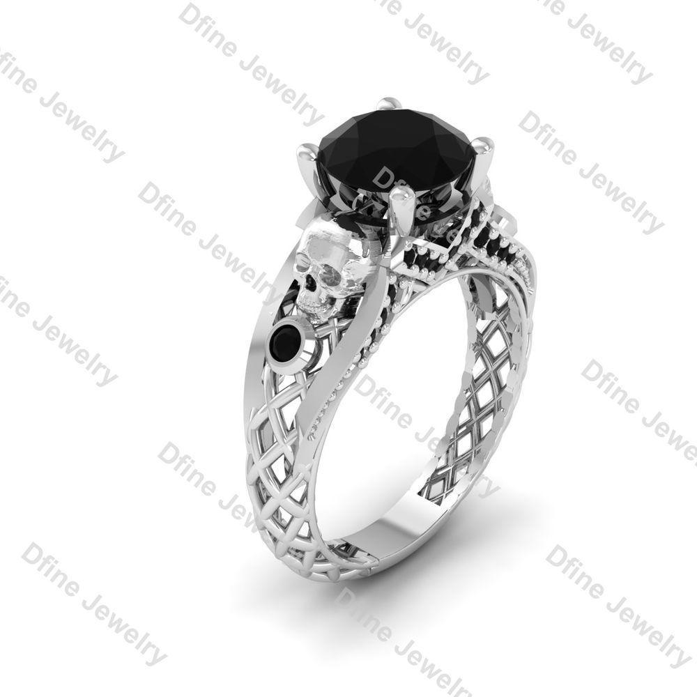 Black Diamond Horror Vampire Gothic Skull Wedding Ring Promise Criss Cross Dfj Solitairewithaccents Engagement