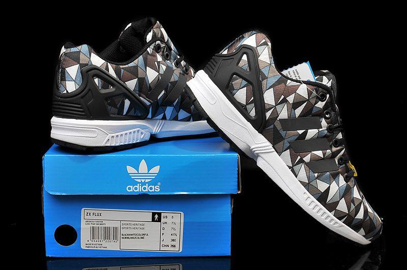 862ac405fd489 Mens Adidas ZX Flux Black Grey Triangle