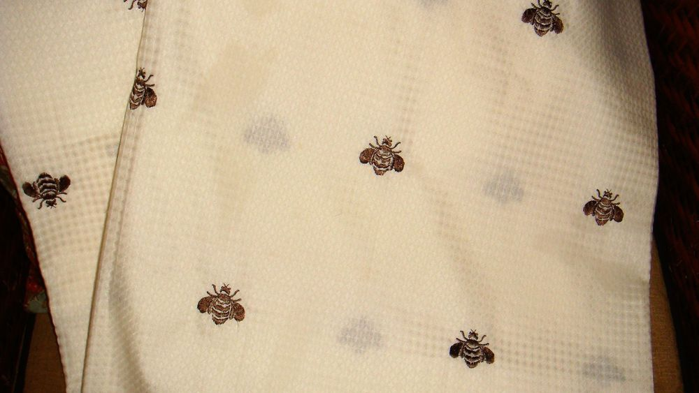 Peri Chocolate Brown Ivory Embroidered French Bee Fabric Shower Curtain Waffle FrenchCountry