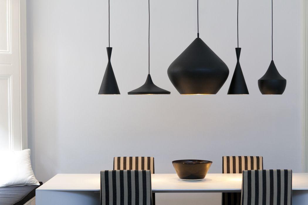 Monochromatic Tom Dixon Light Arrangement Above Dining Table Modern Light Fixtures Interior Decor