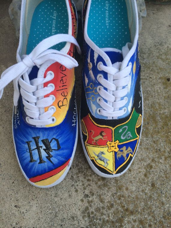 9a497c8af2a9 Harry Potter Themed Vans by DesignsByKinsey on Etsy