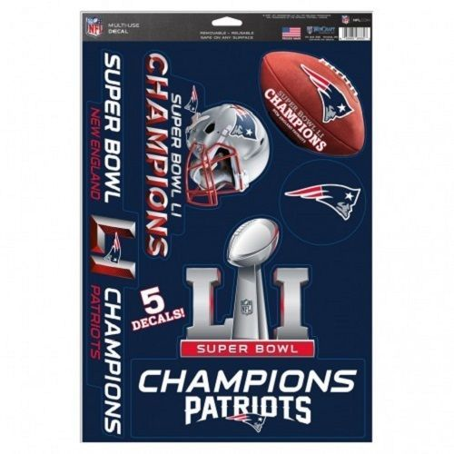 "New England Patriots Super Bowl LI Champions Multi Use Decals - 11"""" x 17"""" Auto, Walls, Windows"
