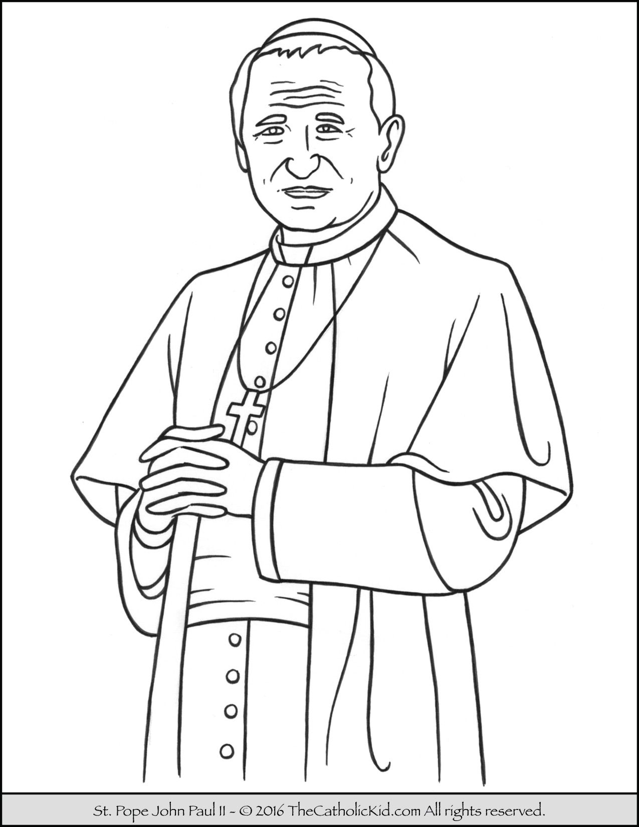 Saint Pope John Paul Ii Coloring Page Thecatholickid Com Pope