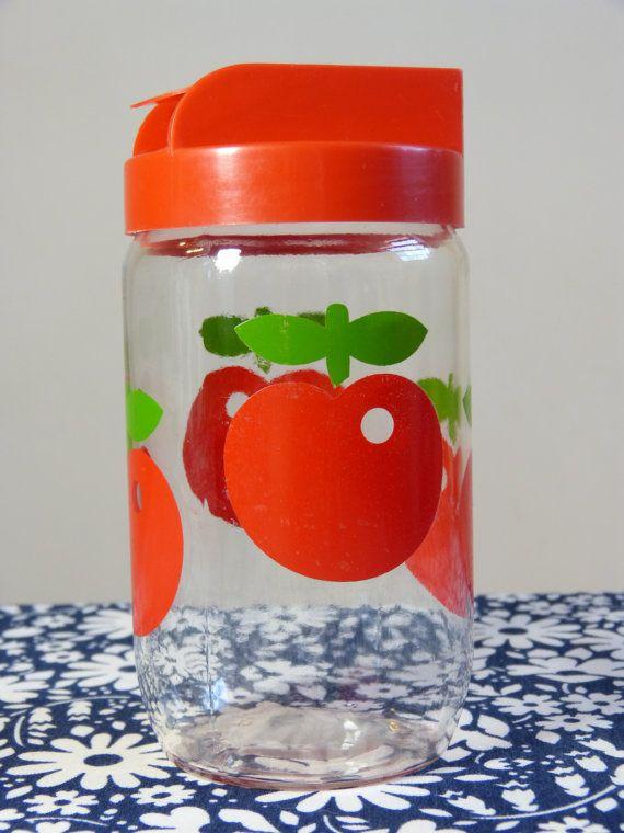 Red apple Henkel VMC Hermeverre glass storage jar canister with pourer lid - size L - French 70s 80s vintage