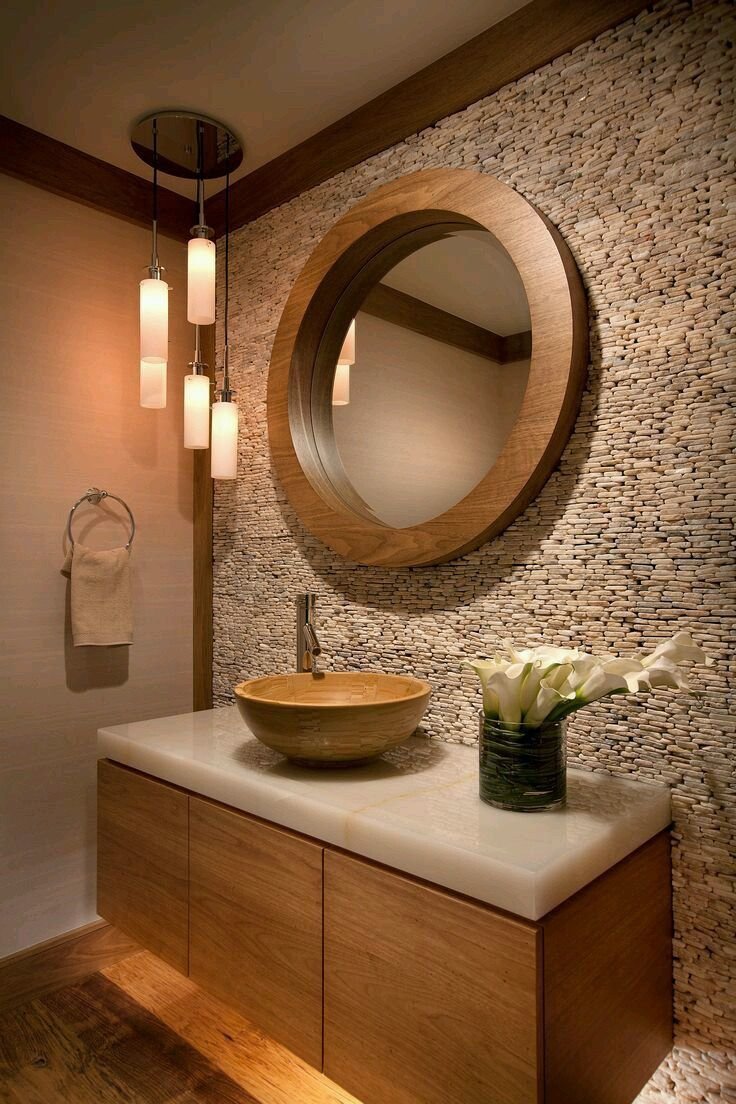 Steinfliesen, Zen Badezimmer, Neue Badezimmerideen, Bad Inspiration, Schöne  Bäder, Inneneinrichtung, Halbes Badezimmer, Badezimmer, Toilettes Deco