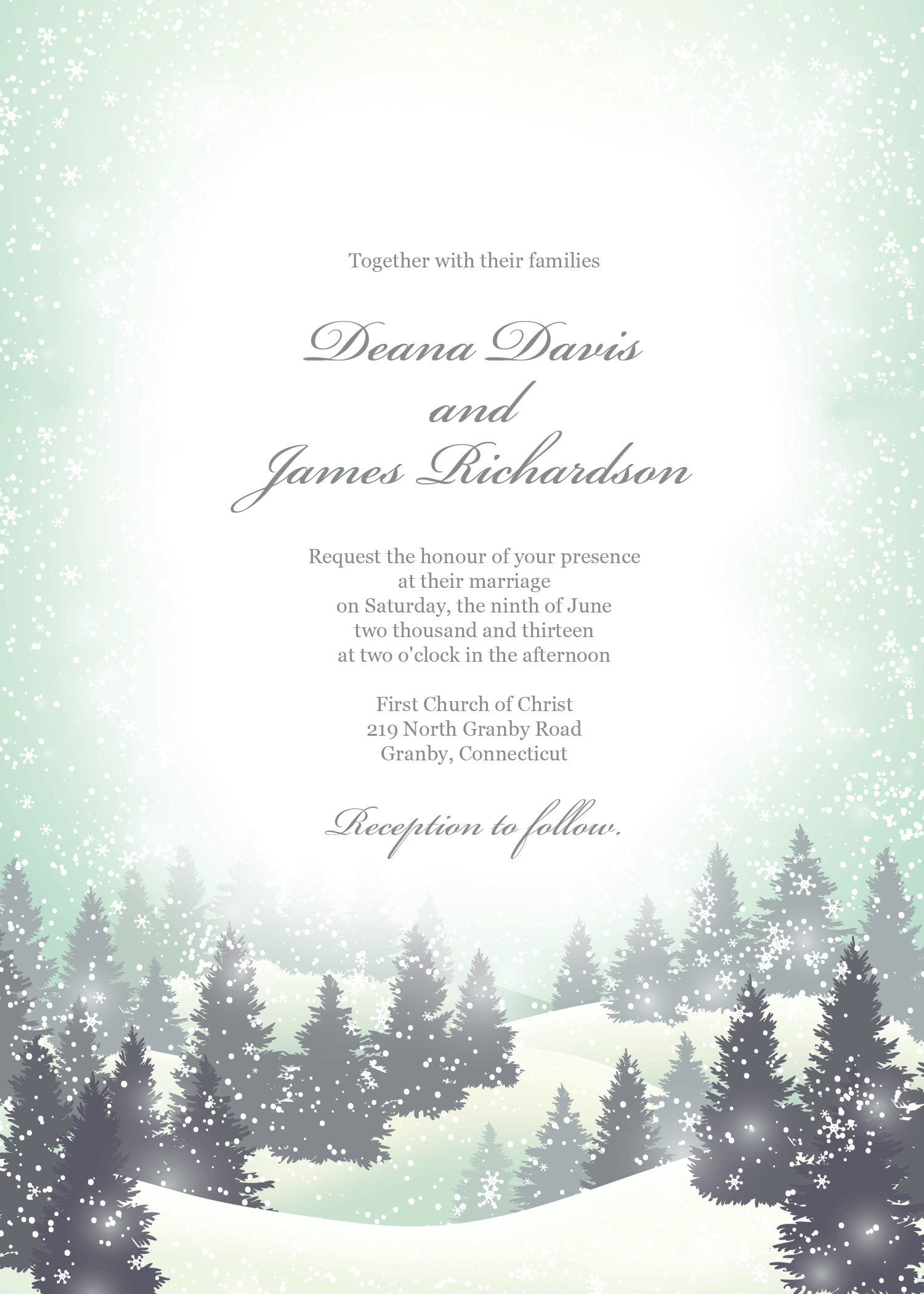 Winter wonderland wedding invitation template. Can also be