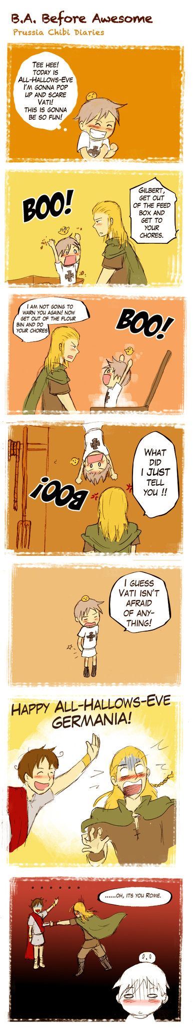 Vati isn't scared of anything!!... except for Grandpa Rome, apparently...LOL!!! :D Chibi Prussia Diaries