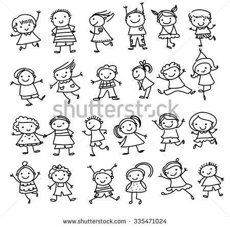 group of kidsdrawing sketch