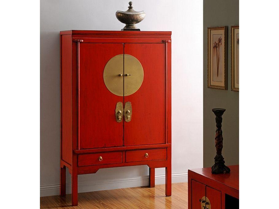 Armoire Nantong 2 Portes 2 Tiroirs L 105 Cm Rouge Vente Unique Ventes Pas Cher Com Meubles Orientaux Decorations Chinoises Mobilier Asiatique