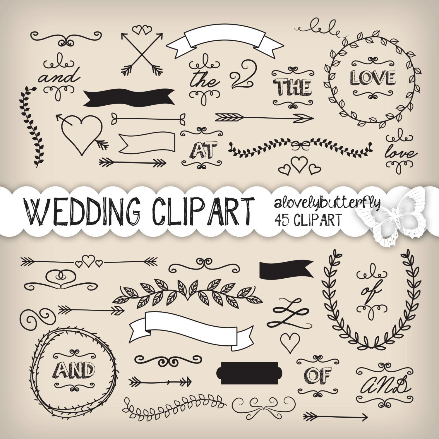 Small Ceremony Big Reception Invitations: Wedding Laurel Clipart, Wedding Invitation Digital