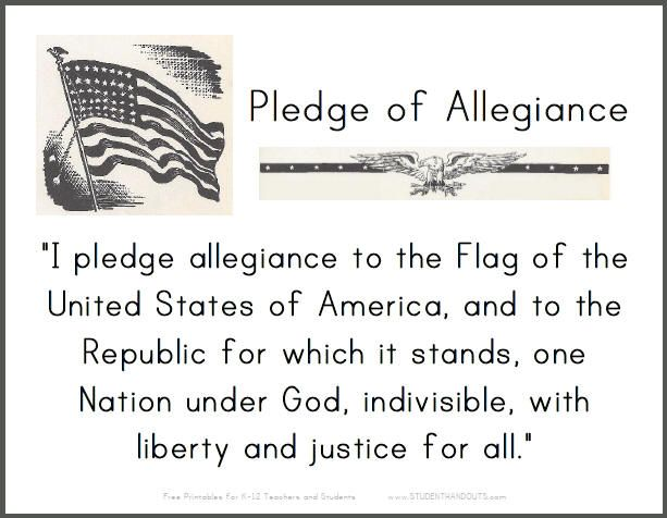 Pledge of Allegiance Printable Sign for Classrooms – Pledge of Allegiance Worksheet