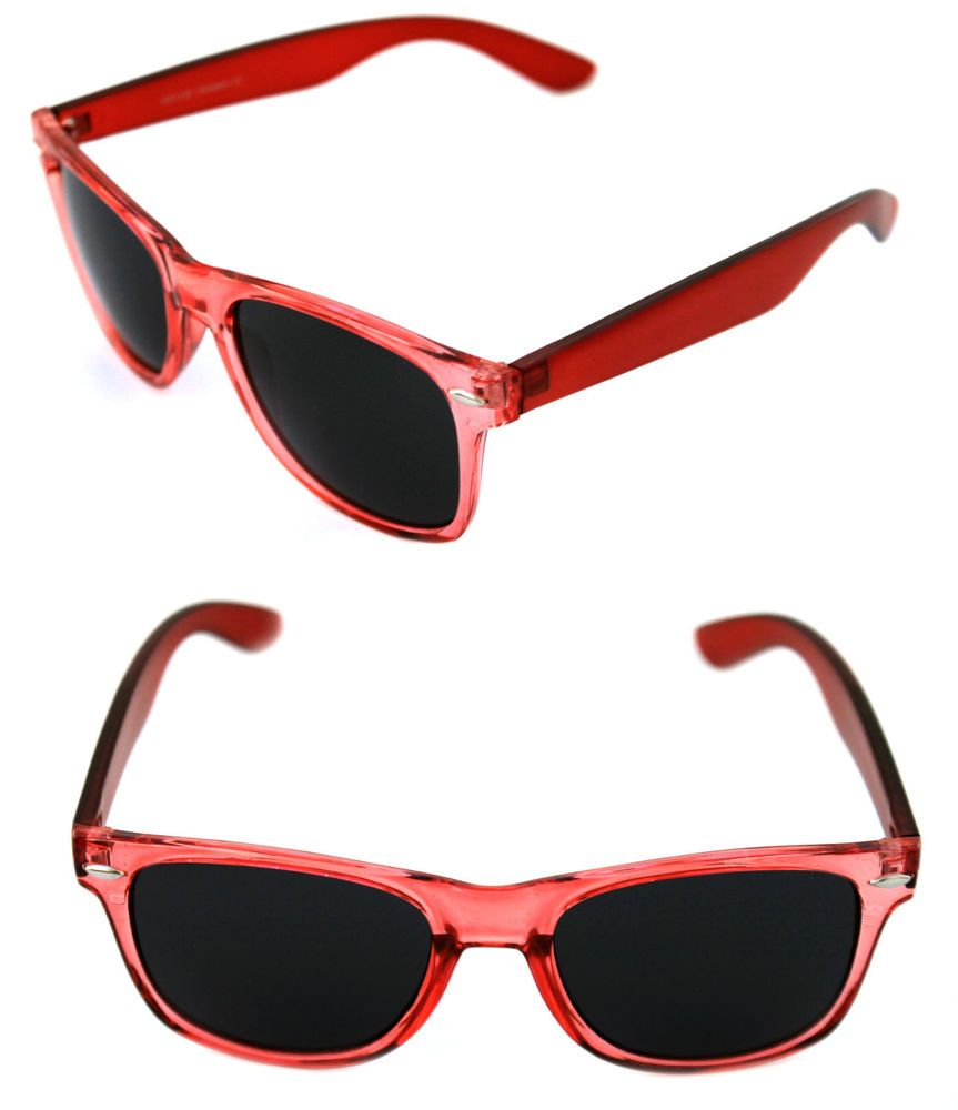 7b6a699872dc Men s Women s clear Red Frame Sunglasses Horn square Rimmed Black Lenses  80 s  Unbranded  Wayfarer