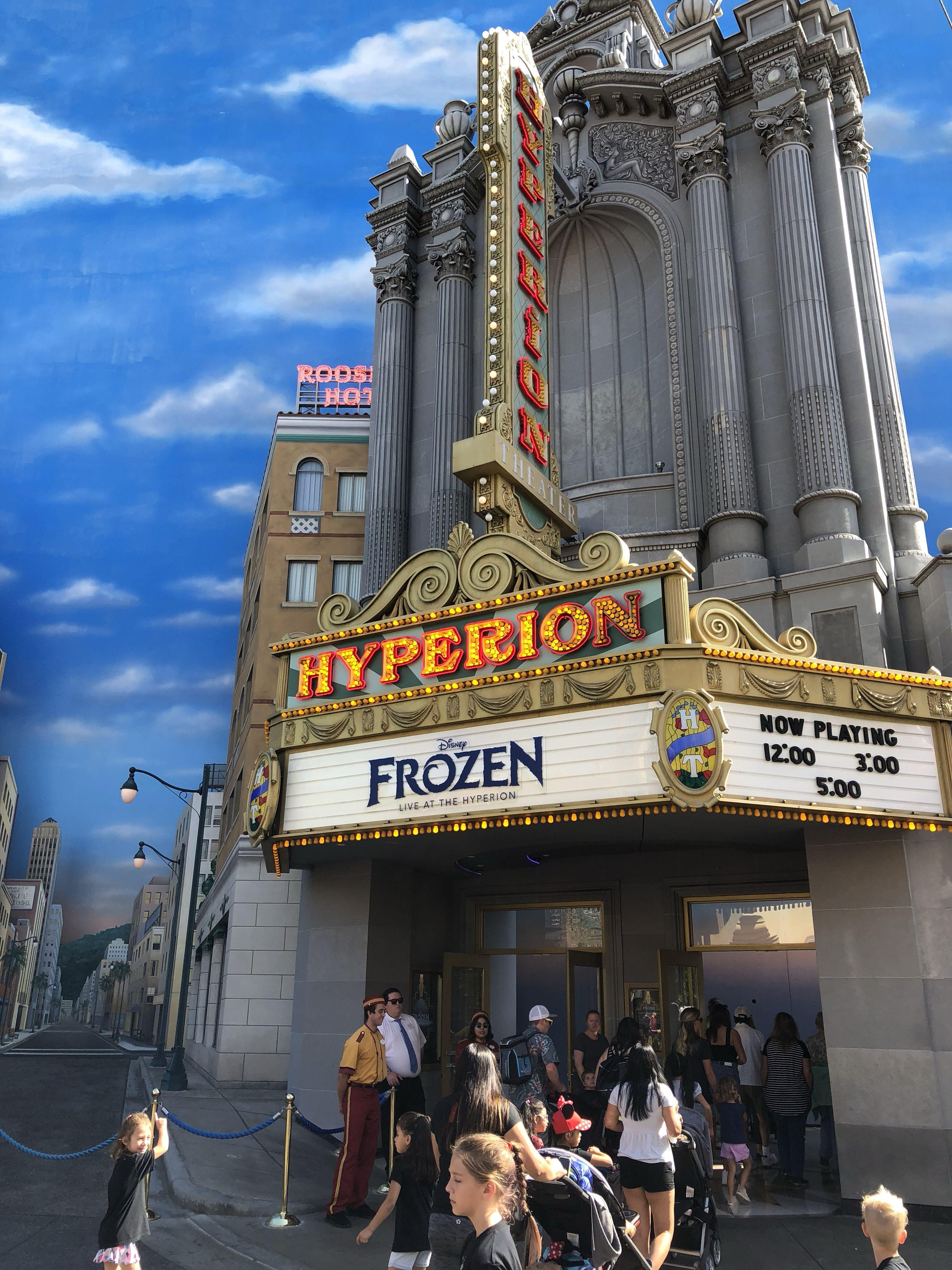 Hyperion theater at disneys california adventure frozen