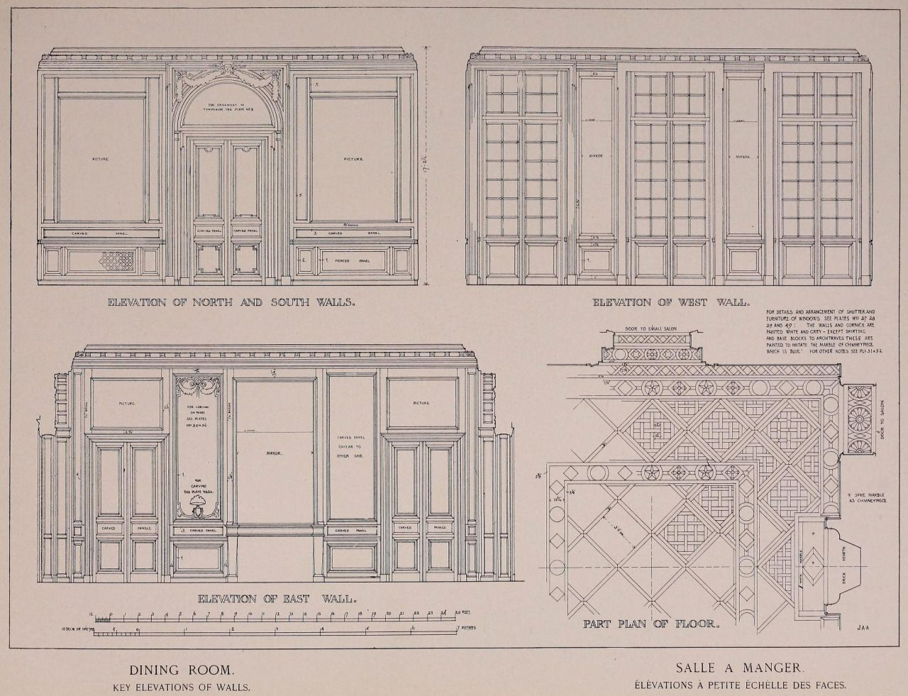 Elevations and partial plan of the dining room inside the for Dining room elevation