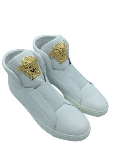 fdcf6482 Versace White Leather Medusa SLIP-ON HIGH-TOP PALAZZO SNEAKERS ...