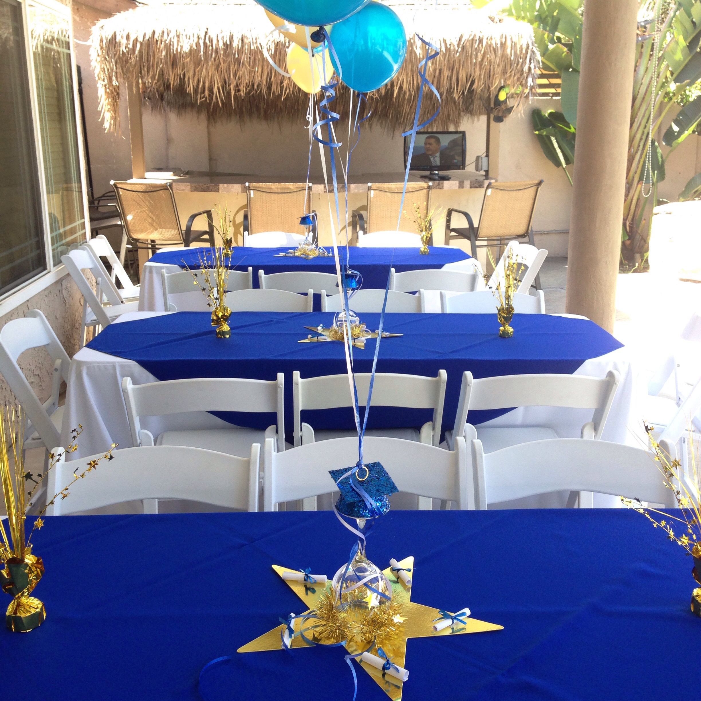 Traditional wedding decor blue and white  High school graduation for guys  Graduation party  Pinterest